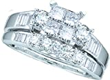 Ladies 10k White Gold 1 Ct Princess Cut Diamond Wedding Engagement Bridal Ring Set