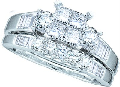 Ladies 10k White Gold 1 Ct Princess Cut Diamond