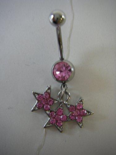 Body Jewelry -Triple Pink Stars Rhinestone Belly Ring - Navel Jewelry