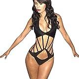 Cocoship Black Grip One Piece Bikini Bandage Cutout Swimwear Monokinis(FBA)