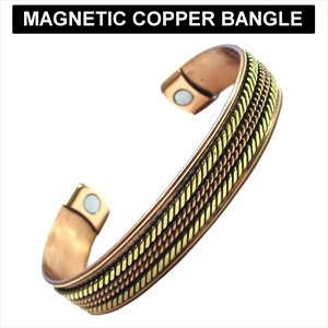 New Unisex Style Pure Copper / Gold Magnetic Bracelet Bangle In Blister Pack