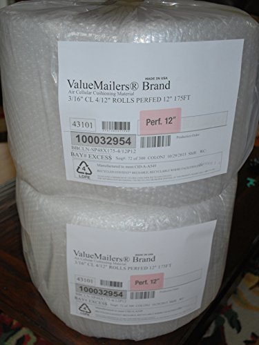 """ValueMailers 350 ft 3/16"""" SMALL BUBBLE CUSHIONING WRAP 12"""" wide, perforated every 12"""", 350 total sq ft"""