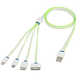 AKSHAJ 4 in 1 USB Charging Cable for All Your Mobile Smart Phone Devices - iPhone Android Phones Windows Phones and Tablets (3Ft) - CHARGING ONLY NO DATA SYNC (Green)