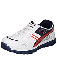 Acto White & Blue Synthetic Sports Shoes For Men