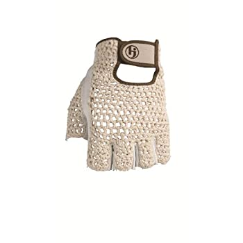 HJ Glove's Original Half Finger golf glove is constructed of hand-knit cotton. This cotton crocheted material provides maximum ventilation and excellent fit. The unique open-finger design is excellent for warm weather.