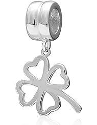 Choruslove Lucky 4 Leaf Clover 925 Sterling Silver Dangling Bead Pendant For European Style Valentines Bracelet...