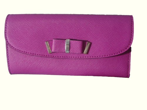 Michael Kors Kiera Fuschia Flat Saffiano Leather Wallet