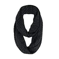 Black Chevron Medium Weight Loop Scarf for Men and Women