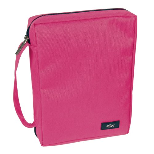 Promo Poly-Canvas Bible / Book Cover w/Fish Applique (Large, Pink)