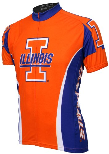 Ncaa Illinois Cycling Jersey,Large,Orange/Purple/White