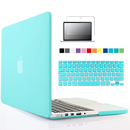 iBenzer® - 3 in 1 Multi colors Soft-Touch Plastic Hard Case Cover & Keyboard Cover & screen protector for Macbook Pro 13'' with retina display, Turquoise MMP13R-TBL+2