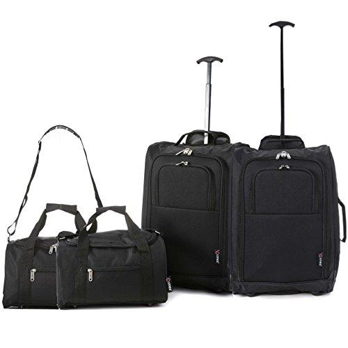 Set di 4 - 2x Ryanair Cabin Approvato 55x40x20 cm e 2x Seconda 35x20x20 bagaglio a mano Set - vai avanti Entrambi gli articoli! (Nero / Nero)