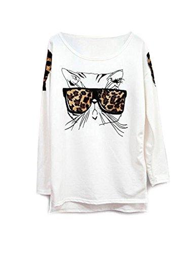 Zacoo Donna Shirt Camicetta Camicia Bianco Maniche Lunghe Blouse Top Shirt One Size