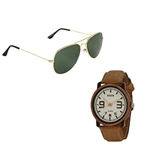 Oura Analog Round Casual Wear Watch For Men With Avitor Sunglasses