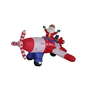 8' Airblown Inflatable Animated Santa Flying Plane Lighted Christmas Yard Decor