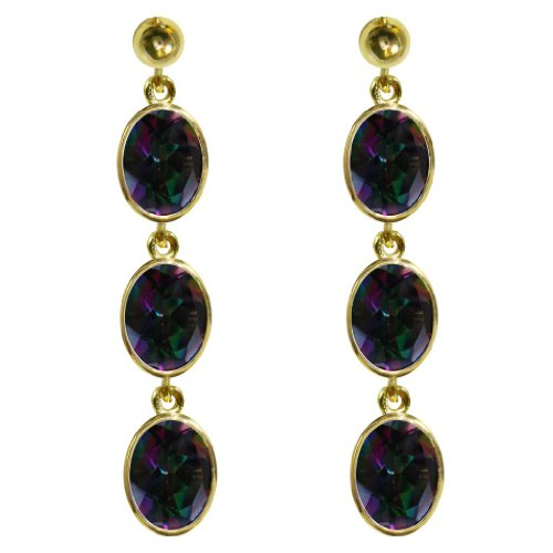 Stunning 9ct yellow Gold Ladies Triple Drop Oval Cut Dropper Earrings Set With Beautiful Mystic Topaz