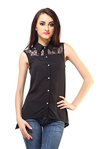 Crepe Femme India Women Poly Crepe Black Sleeveless Buttoned Top