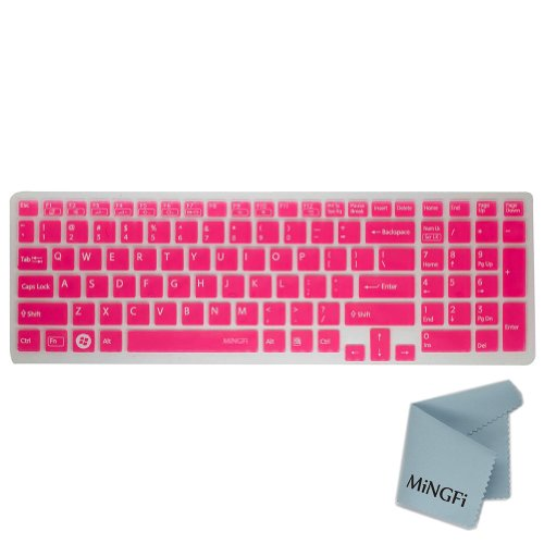 Mingfi Silicone Keyboard Cover Protector Skin For Sony 15.5 Inch Vaio Eb Ee Eh El Se Cb Series Sve1511Bgxs Svs1511Bfxb Sve1511Hfxw Sve15112Fxs Sve15114Fxs Sve15115Fxs Sve1512Gcxs Sve15122Cxp Pcg-61511T E15 S15 F219 F24 With Number Pad Us Keyboard Layout - front-206567