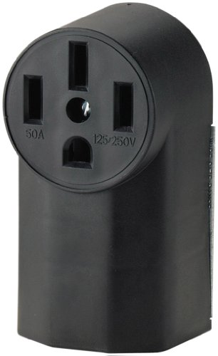 Cooper Wiring Devices Wd1212 50-Amp 3-Pole 4-Wire 125-Volt Surface Mount Range Power Receptacle, Black
