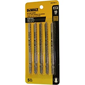 DEWALT DW3760-5 4-Inch 10TPI Fine Finish Wood Cut Cobalt Steel T-Shank Jig Saw Blade (5-Pack)