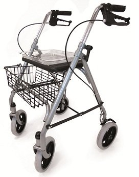 Folding Lightweight Rollator wheeled walking frame with brakes, seat and tray