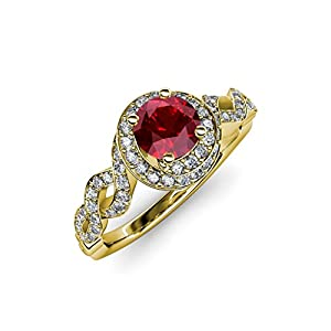Ruby and Diamond (SI2-I1, G-H) Twisted Halo Engagement Ring 1.50 ct tw in 14K Yellow Gold.size 6.5