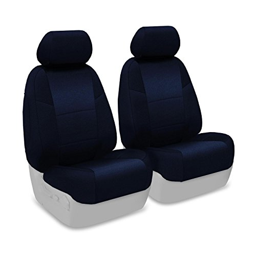 Coverking Front 50/50 Bucket Custom Fit Seat Cover For Select Toyota Tundra Models - Velour (Dark Blue) front-1068019