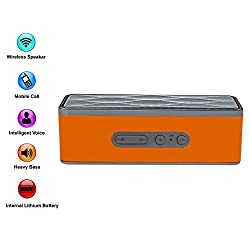 XTRA G-Super Wireless Bluetooth Speaker Portable Stereo FM Radio, Support Micro SD Card, Pairs with All Bluetooth Devices and 3.5mm Jack - Bluetooth V4.0 - Orange