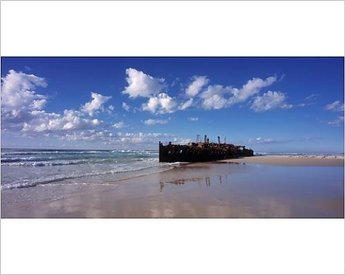 Photographic Print of The wreck of the a x2019;Mahenoa x2019;, a luxury passenger ship, wrecked in