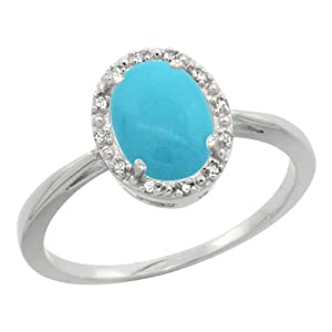 Sterling Silver Diamond Sleeping Beauty Turquoise Halo Ring Oval 8X6mm, 1/2 inch wide, size 6