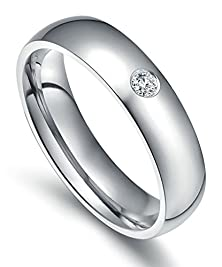 buy Mens Womens Stainless Steel Rings Comfort Fit Classic Wedding Bands Silver 5Mm Cz Size 6 - Adisaer