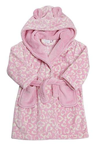 Childrens Girls Heart Robe Dressing Gown Fleece Leopard Print ... 7678b2b56