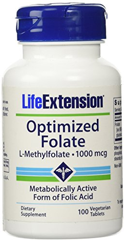 Life Extension Optimized Folate (l-methylfolate), 1000 Mcg, Vegetarian Tablets, 100-Count