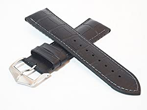 HIRSCH ポール 24mm ヒルシュ 時計バンド 牛革アリゲーター型押し/カウチュークラバー ブラック シルバー尾錠 時計ベルト