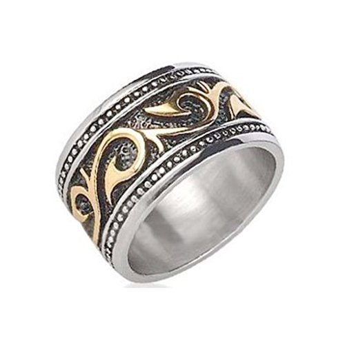 Tribal Ring (Size 11) - Stainless Steel Ring With 14K Gold Ip - Rings For Women - (Thick - 12Mm). Celtic Irish Rings For Women Gothic Goth Jewelry Ring - Womens Rings Size 5, 6, 7, 8, 9, 10 And Are Comfort Fit. (11)