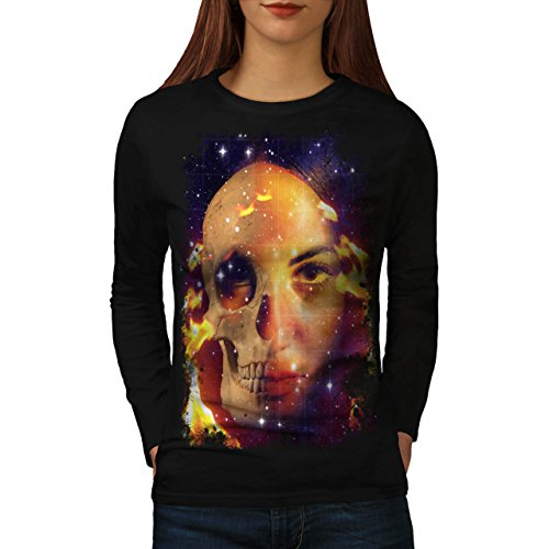 Cranio Angelo Flames Guerriero Arte Da donna Nuovo Nero XL T-Shirt Manica Lunga | Wellcoda