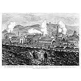 Grabado antiguo (1880) - Xilografía - Barruelo (Palencia).- Vista Del Establecimiento Minero (15x22), Becerro,...