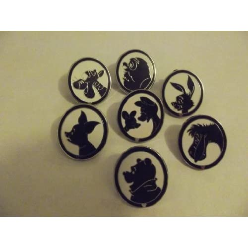 Pooh Silhouette SET Lot Hidden Mickey WDW LOOK Black White Picture