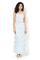 Mint Green Printed Halter Neck Maxi