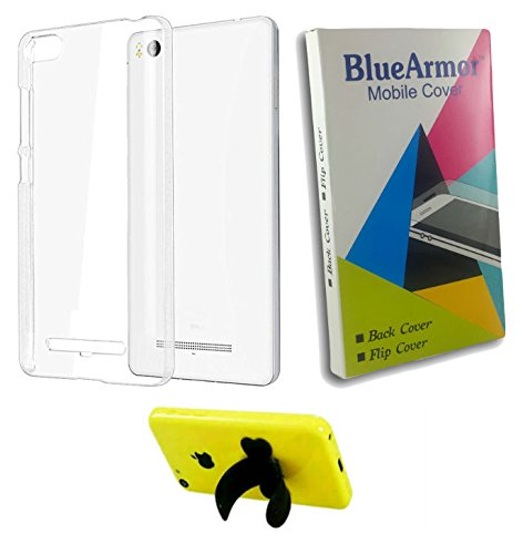 BlueArmor Soft Silicone Back Cover Case For Micromax Canvas Spark 2 Plus Q350 - Transparent & Silicone Stand