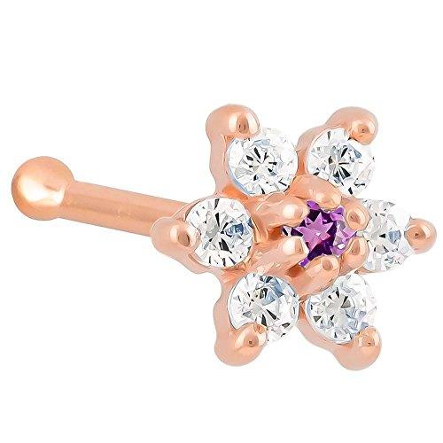 Purple Cz (February) Flower 14K Rose Gold Nose Ring Bone - 20G