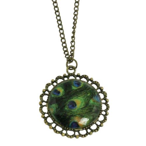 Rosallini Bronze Tone Peacock Peafowl Feather Rhinestone Pendant Sweater Necklace