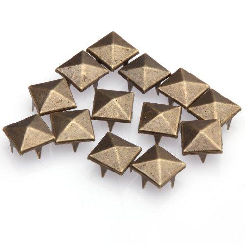 ILOVEDIY 200pcs 12mm Antique Bronze Pyramid Punk Style Studs Rivets for Clothing