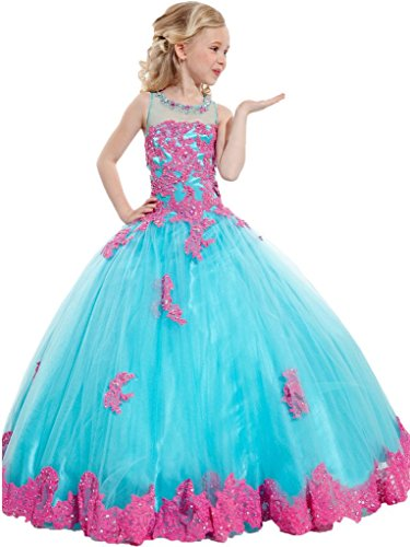 Y&C Girls' Ball Gown Appliques Beads O-neck Pageant Dresses 12 US Blue Pink