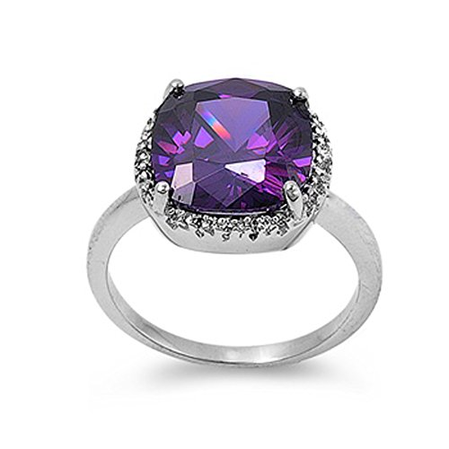 Sterling Silver Woman's Purple CZ Shiny Ring Classic 925 Band 14mm Size 10