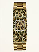 Guess Ladies U0052L2 Gold Tone & Animal Print Polycarbonate Bangle Watch