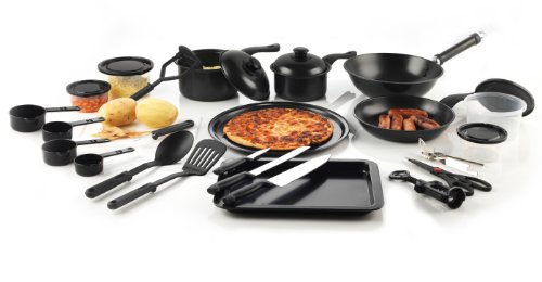 Your Kitchen Hero Css-2/2355 25-Piece Cookware Utensils Starter Set, Medium, Black