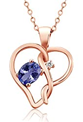 0.46 Ct Oval Blue Tanzanite White Sapphire 18K Rose Gold Plated Silver Pendant
