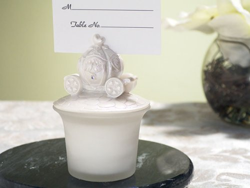 Glass Candle/Place Card Holder Wedding Coach Top - Wedding Party Favors