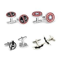 The Marvel\'s the Avengers Logo Symbol captain America deadpool Cuff Links betman Cufflinks,silvertone/enamel Cufflinks Set of 4